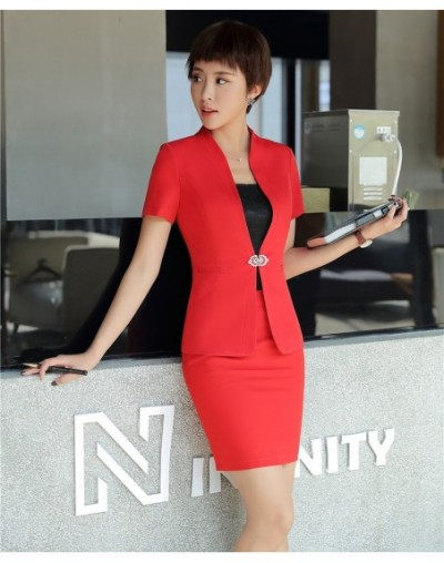 Summer Red Blazer Women Business Suits with Skirt and Jacket Sets Ladies Work Wear Office Uniform Designs - Gray - 4N3068629...