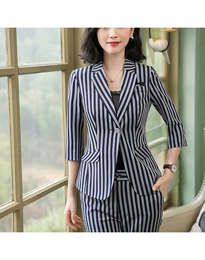 Summer work wear women pant suit 2019 fashion formal short sleeve Striped blazer with trousers office ladies suits 4XL - Blu...