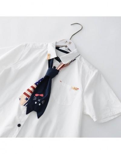 Detachable tie cat kitty white short sleeve shirt women 2019 summer - White - 404143655833