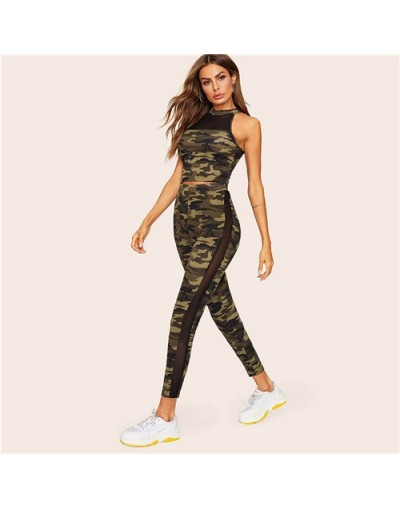 Mesh Insert Fitted Camo Top and Leggings Set 2019 Summer Two Piece Skinny Crop T Shirt Army Green Women 2 Piece Set - Army G...