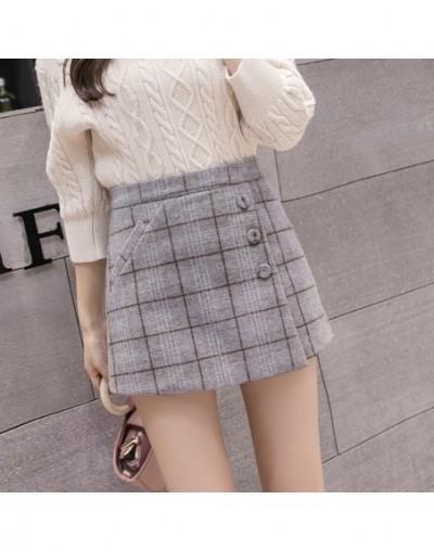 2019 New Fashion Single-breasted Plaid Shorts Skirts Womens Korean Vintage Woolen Shorts Autumn Winter Casual Culottes - Gra...