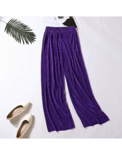 Fashion women pant High Waist Pleated Solid Elastic Waist Long Pants Casual pantalon ete femme ropa femeninaXB40 - Purple - ...