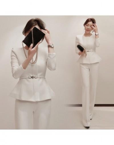 2018 O-neck Long Sleeve Solid Color Women Fashion Pant Suits Peplum Blazer Long Trousers Women's Suit Elegant OL Outwear Coa...