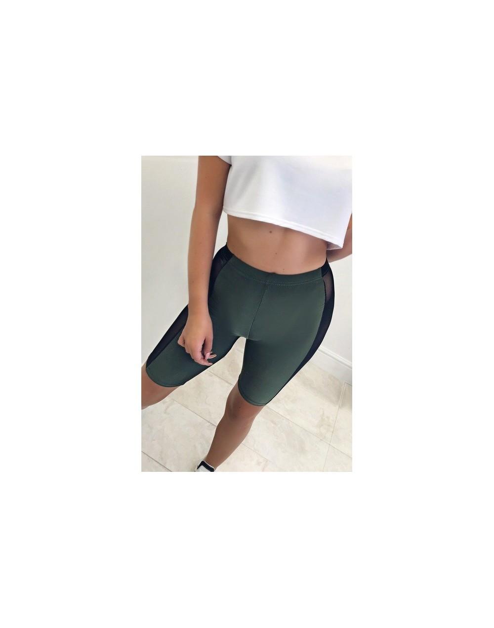 Summer Short Pant Women Half Length Elastic Waist Mesh Patch Stretch Shorts High Waist Shorts For Women - Green - 4R30761389...
