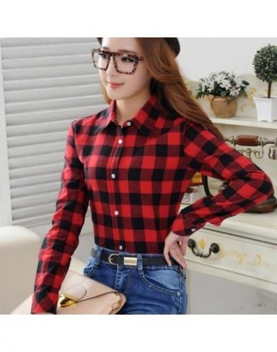 2019 Spring New Fashion Casual Lapel Plus Size Blouses Women Plaid Shirt Checks Flannel Shirts Female Long Sleeve Tops Blous...