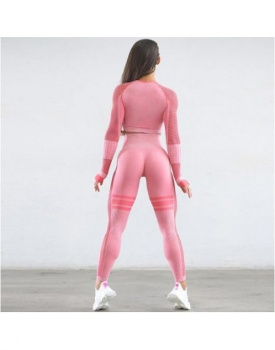 Women Seamless Gym Set Fitness Sports Suits Clothes Traning Long Sleeve Shirts High Waist Running Leggings Workout Pants Shi...