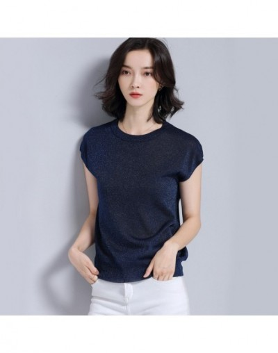 Slim Sweater Female Spring-Summer Knitted Shiny Euro-American Sweater Fashion Elegant Cozy Short Sleeve Sweater - Blue - 4A4...