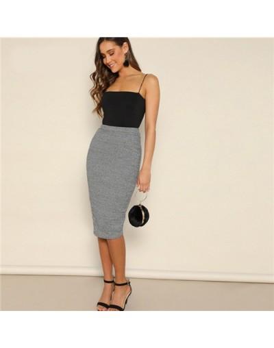 Grey Elastic Waist Pencil Skirts Womens Basics Summer Elegant Office Lady High Waist Sexy Solid Bodycon Long Skirt - Gray - ...