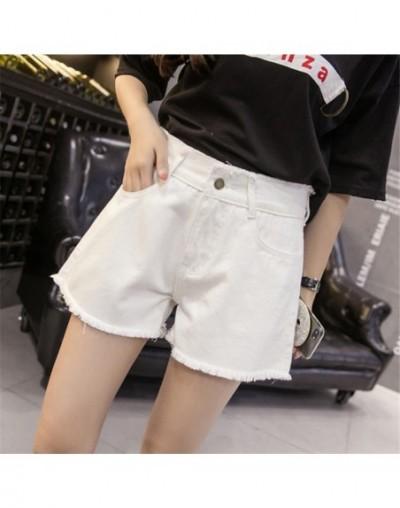 2019 Spring Denim Shorts Female Summer Big Size S-5XL Loose High Waist Jeans for Women Simple Tassel Black White Shorts Jean...