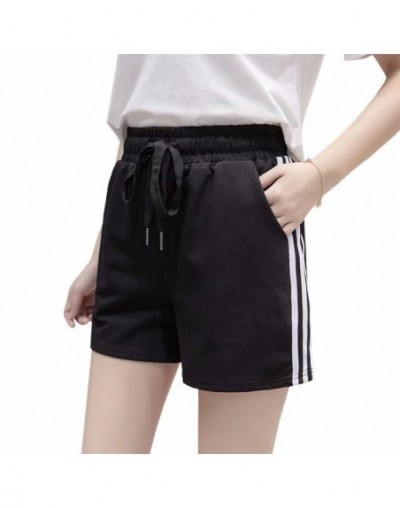 casual sports shorts female summer wide leg large fat mm running high waist thin section hot pants loose home pajamas - whit...
