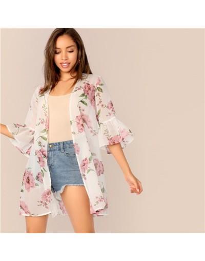 White Floral Print Bell Ruffle Sleeve Semi Sheer Kimono Women Bohemian Longline Kimono Cardigan Summer Ladies Tops - White -...