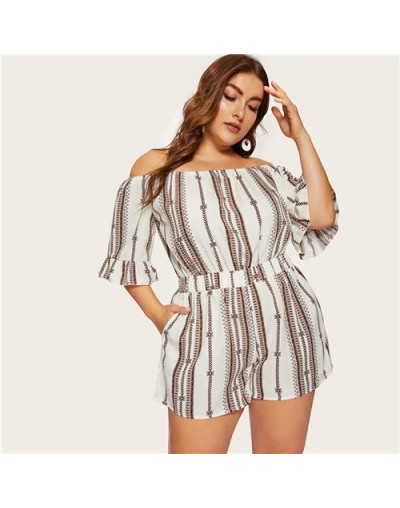 Plus Size White Off The Shoulder Embroidery Beach Wear Jumpsuit Rompers Women 2019 Summer Flounce Sleeve Boho Playsuits - Wh...