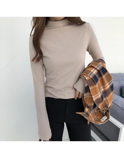 New Arrival Fall Winter Women Turtleneck Basic Tops Slim Full Sleeve Shirt Stretch Vintage Render Unlined Upper Garment - Li...