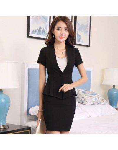 Fashion Work wear short sleeve women skirt suit OL elegant plus size uniform office ladies slim formal suits Apricot Red Bla...