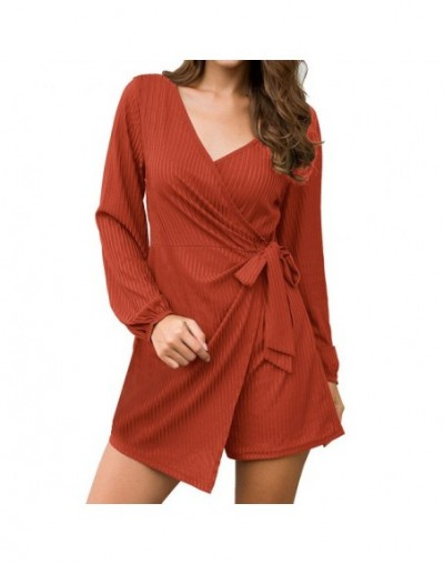 Bandage Irregular playsuits autumn Fashion Romper Sexy Women Solid color Sashes v neck Long Sleeve Knitting Short Jumpsuit -...