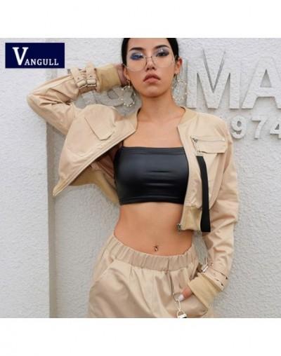 Ribbon Zipper Pocket Khaki Jackets Women 2019 New Spring Autumn Front Stand Collar Long Sleeve Crop bomber Jackets - Khaki -...