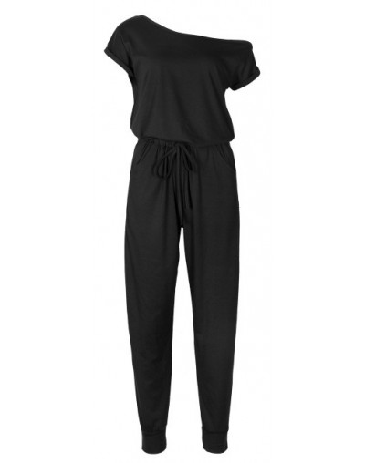 Summer Women Jumpsuits Solid Casual Rompers Female Off Shoulder Long Jumpers Short Sleeve Jumpsuit Office Work Overalls GV19...