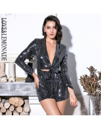Sexy Silver Deep V-Neck Cut Out Glitter Sequins Elastic Material Long Sleeve Playsuit LM81745 - SILVER - 32967796906