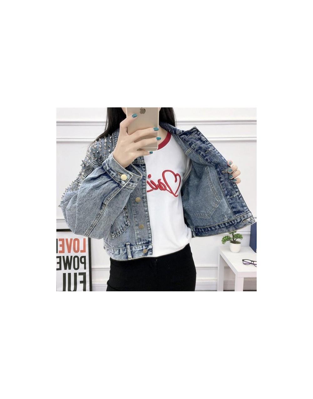 Retro Women's Denim Jacket With Rivet 2019 Spring Streetwear Long Sleeve Pockets Ladies Jean Jackets Loose Short Outwear Fem...
