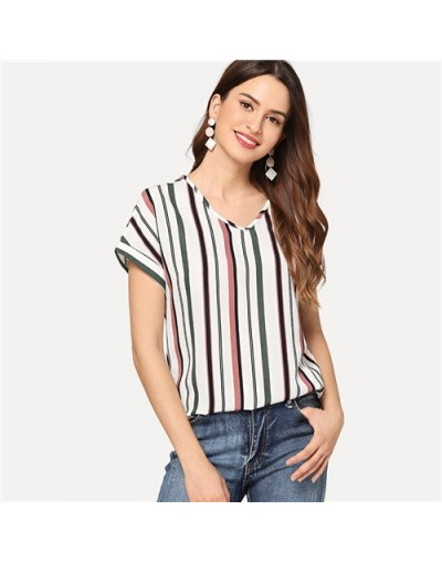 V Neck Curved Hem Striped Top Female Short Sleeve Blouse Casual Women Shirts 2019 Summer Tops For Womens Blouses - Multi - 4...