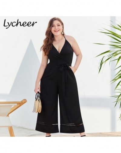 Lycheer Plus size Vintage women jumpsuit Sexy big size spaghetti strap sashes female jumpsuits Solid black casual long rompe...