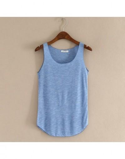 Spring Summer New Tank Tops Women Sleeveless Round Neck Loose T Shirt Ladies Vest Singlets - Blue - 4F3964313483-2
