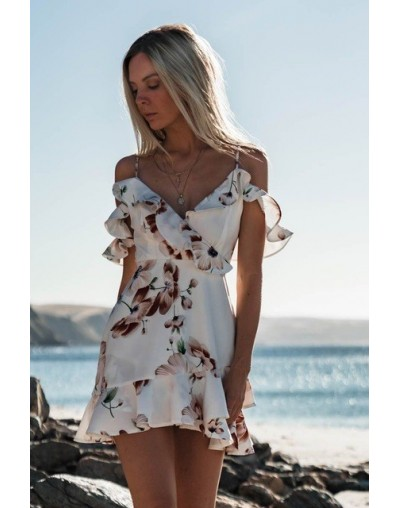 2018 Boho Womens Summer Short Mini Dress Ladies V Neck Holiday Beach Party Floral Print Sundress Ruffle Trumpt Sexy Dresses ...