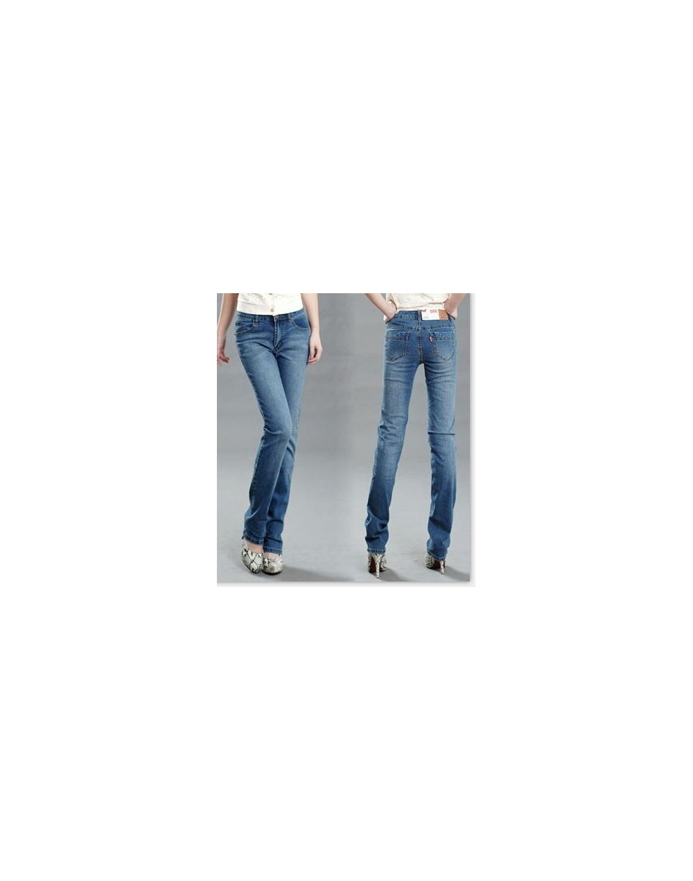 2016 spring and summer women's Mid High waist denim pants small straight elastic jeans plus size Denim Trousers - light blue...