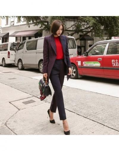 2019 spring Fashion Striped Patchwork Women Pant Suit One Button Lace Up Blazer Jacket & Pencil Pant Irregular two Pieces se...