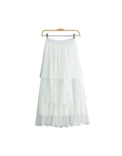 women sweet ins chic ruffled mesh midi skirts multi-layered elastic waist white pink casual cute mid calf skirt BA370 - whit...