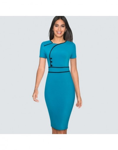 Women New Fashion Elegant Short sleeve button O-neck Dress Wear to work Classic Sheath Bodycon pencil dress HB509 - Turquois...