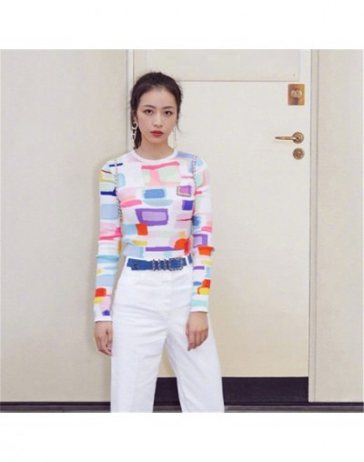 New Geometric Pattern Printing Round Collar Set Of Cultivate Morality Show Thin Elasic Knitted Tops 2019 Summer Women Clothe...