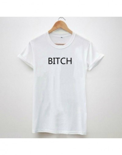 BITCH Letters Print Women Tshirt Latest Shirt Hipster Casual Cotton For Big Size Top Tee Camiseta Drop Ship BZ205-63 - White...