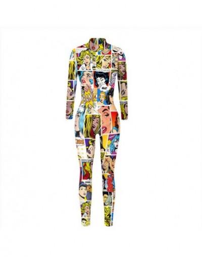 Newest Sexy Cosplay Iron Man 3D Print Women Tight Jumpsuit Female Costumes Halloween Bodysuit Set Back Zipper - BAX031 - 4A4...
