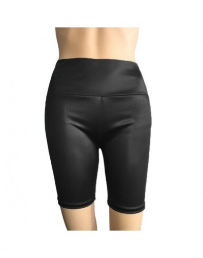 Ladies Autumn & Winter skinny solid pants Casual Large Size Yoga Pants PU Leather High Waist Shorts - Black - 5P111187866162-2