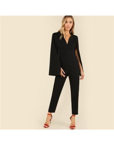 Black Party Elegant Wrap Plunging V Neck Cloak Long Sleeve Solid High Waist Maxi Jumpsuit Autumn Women Casual Jumpsuit - Bla...