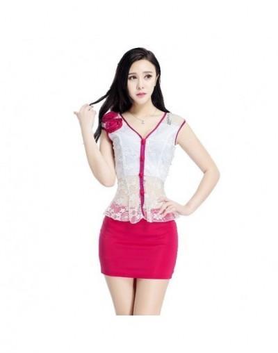 Women's suits New summer short Slim V-neck Net yarn Patchwork Short sleeve jacket skirt Business OL Formal Skirt Suits - Red...