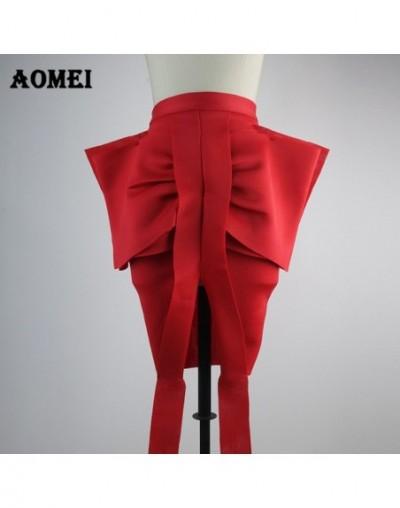 Women Pencil Skirt Front Big Bow Tie High Waist Split Slim Female Package Hip Lolita Jupes Falads Officewear Elegant Femme 2...