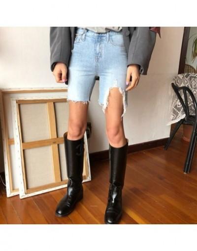 Vintage High Waist Ripped Holes Straight Women Denim Shorts Streetwear Stretched Tassel Denim Blue Jeans Shorts Femininas 20...