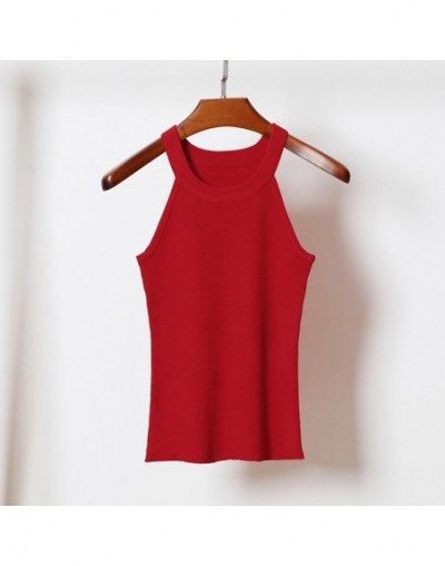 Spring Fashion Halter Sexy Knitted Tank Tops Women Sleeveless Elastic Crop top Casual Elegant Vest slim female Tees Camis - ...