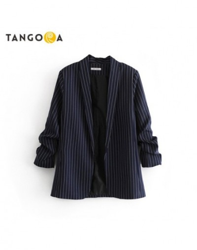 Striped korean office suits for women crinkled sleeve blazers and jackets 2019 autumn ladies long plus size suits WT05 - Blu...