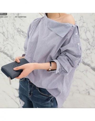2018 summer new custom color casual shirt oblique collar button bat sleeve women's fashion shirt female loose shirt L31 - L3...