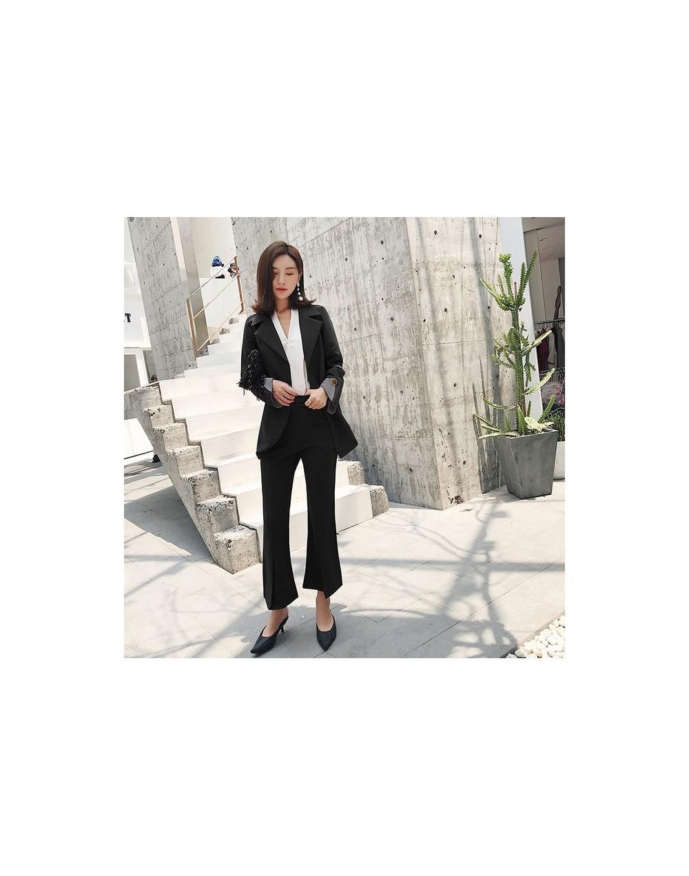 Fashion Lace Up Women Pant Suit Slim Waist Blazer & High Waist Flare Pant OL Style Female 2 Pieces Set 2018 - black - 423035...