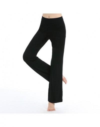 Solid YogaPants Flare At Bottom Women Mid Fitness Sportwear Trousers Leggings 16 colors White Pants - Black - 403907681227-1