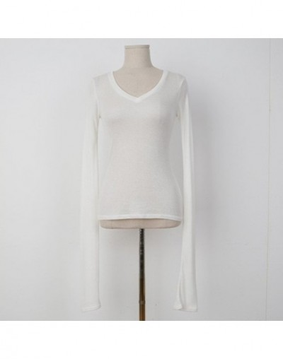 2019 Sexy Thin T-shirt See Through Tops Slim High Quality Plain T Shirt Women Cotton Elastic Basic Female Casual V-Neck Tops...