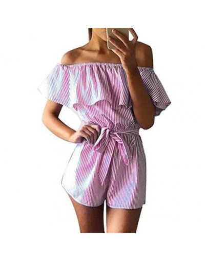 Hot Sale Spring Summer Women Jumpsuits V-neck Flounces Striped Print Loose Rompers Sexy Short Overalls Jumpsuit Female Cloth...