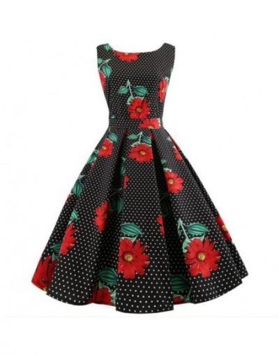 Summer Women Dress Plus Size Casual Midi Work Office Party Sundres Sleeveless Floral Print Elegant Vintage Pin up Dresses ju...