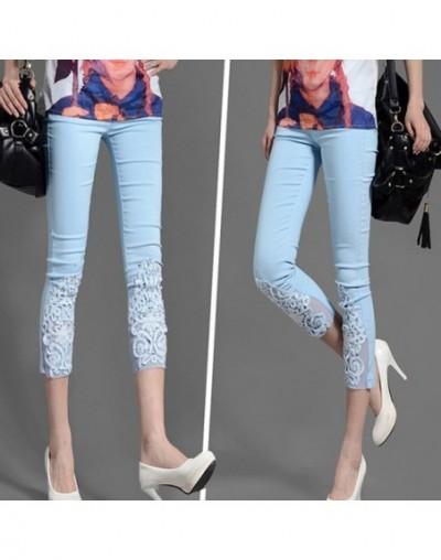 Women Lace Pants Crochet Rhinestone Skinny Stretch Cropped Crochet Lace Diamond Leggings Capris Pants Summer Plus Size S-4XL...