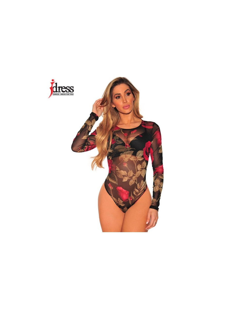 IDress 2018 New Design Women Elastic Floral Print Mesh Bodysuit Sexy Sheer Body Suit Leotard Rompers Black Bodysuit Long Sle...