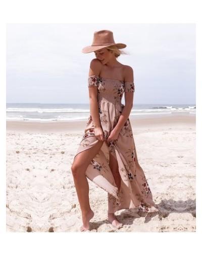 2018 New Women Sexy Side Split Summer Dress Off Shoulder Vintage Print Maxi Dress Women Beach Dress Vestidos - khaki - 4H391...